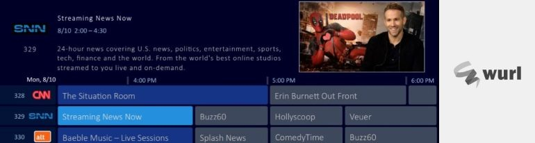 Wurl streaming cable channels in the guide