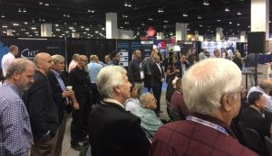 Standing room only at the Amino booth