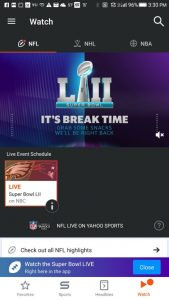 Some ad pods were blank in Yahoo Sports during super bowl
