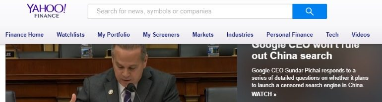 Yahoo Finance splash