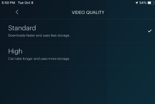 Hulu video quality settings